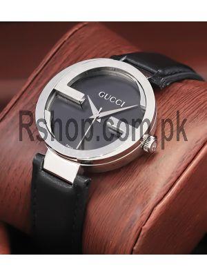 Gucci Interlocking-G Black Dial Black Leather Strap Ladies Watch Price in Pakistan