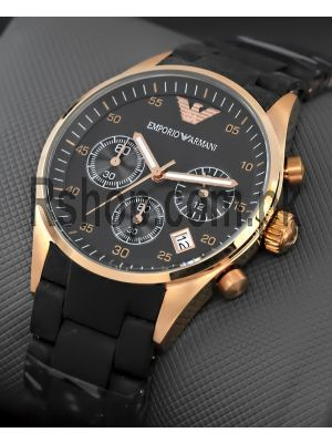 Emporio Armani AR5906 Sportivo Rosetone Chronograph Black Silicone Womens Watch Price in Pakistan