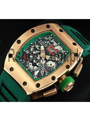 Richard Mille Rm 011 Fm Felipe Massa Green Strap Watch Price in Pakistan