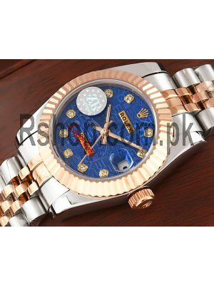 Rolex Lady Datejust Two Tone Blue Computer Dial Swiss Watch Price in Pakistan