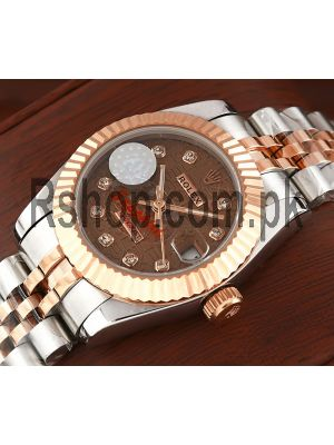 Rolex Lady Datejust Two Tone Brown Computer Dial Swiss Watch Price in Pakistan