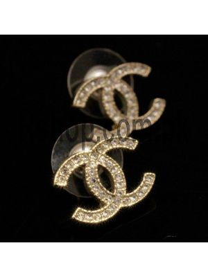 Chanel Classic CC Stud Crystal Earrings in Gold Price in Pakistan