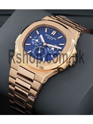 Patek Philippe Nautilus Rose Gold With Blue Dial Watches,